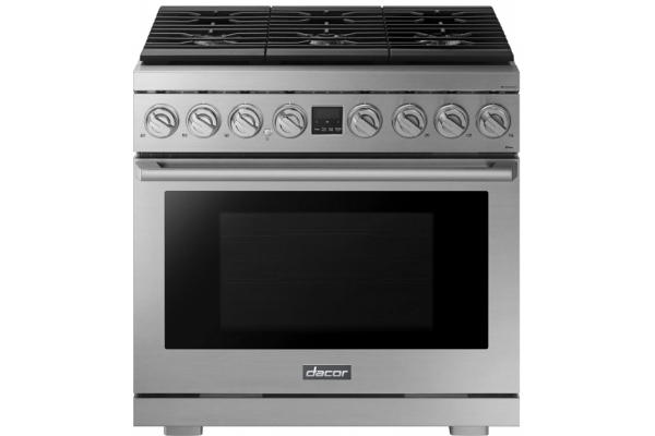 """Large image of Dacor Transitional 36"""" Silver Stainless Steel Natural Gas Range - DOP36P86GLS/DA/NG"""