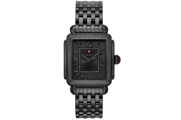 Large image of Michele Deco Madison Noir Black Stainless Steel Diamond Watch, Black Dial, 34mm - MWW06T000215