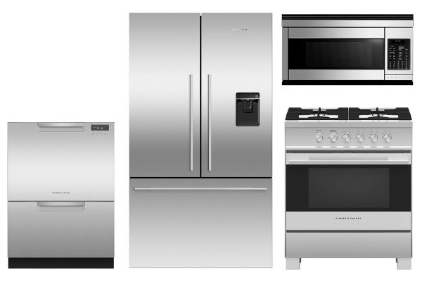 Fisher & Paykel Stainless Steel Counter-Depth Refrigerator with Gas Range Package - FISHPACK2