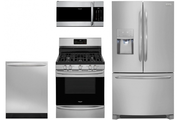 Large image of Frigidaire Gallery 21.7 Cu. Ft. Stainless Steel Counter-Depth French Door Refrigerator with Gas Range Package - FRIGPACK18