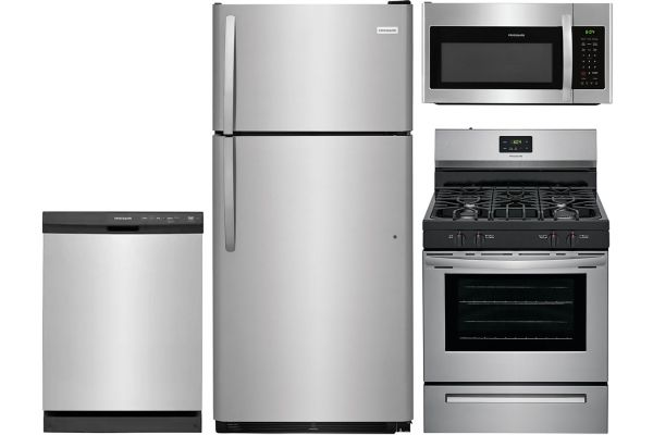 Large image of Frigidaire Stainless Steel Top-Freezer Refrigerator Kitchen Package with Gas Range Package - FRIGPACK9