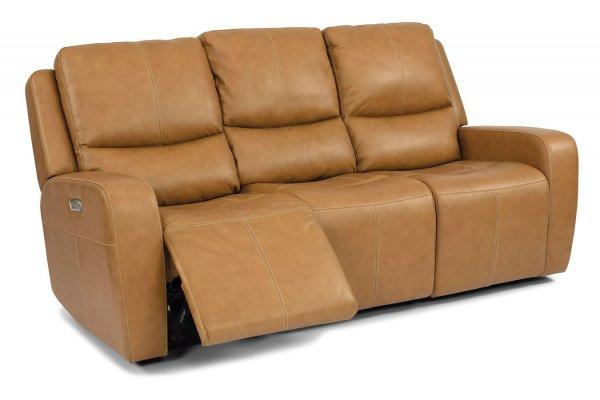 Large image of Flexsteel Aiden Midnight Black Power Reclining Sofa w/ Power Headrests - 1039-62PH-918-00