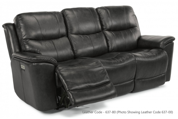 Large image of Flexsteel Cade Leather Power Reclining Sofa With Power Headrests & Lumbar - 1183-62PH-637-80