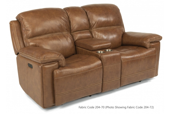Large image of Flexsteel Fenwick Fabric Power Reclining Loveseat With Console & Power Headrests - 1659-64PH-204-70