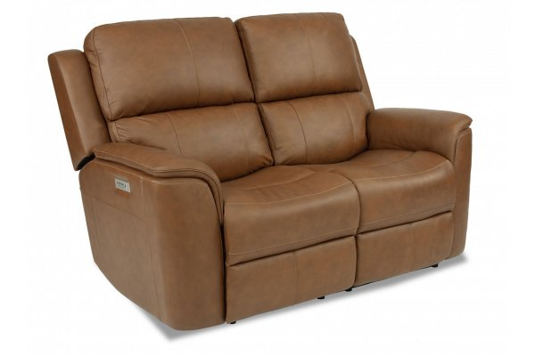 Large image of Flexsteel Henry Hickory Power Reclining Loveseat With Power Headrests & Lumbar - 1041-60PH-946-71