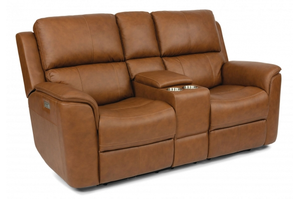 Large image of Flexsteel Henry Leather Power Reclining Loveseat With Console & Power Headrests & Lumbar - 1041-64PH-946-72