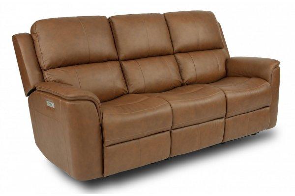 Large image of Flexsteel Henry Hickory Power Reclining Sofa w/ Power Headrests & Lumbar - 1041-62PH-946-71