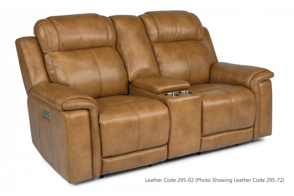 Large image of Flexsteel Kingsley Leather Power Reclining Loveseat With Console & Power Headrests - 1128-64PH-295-02