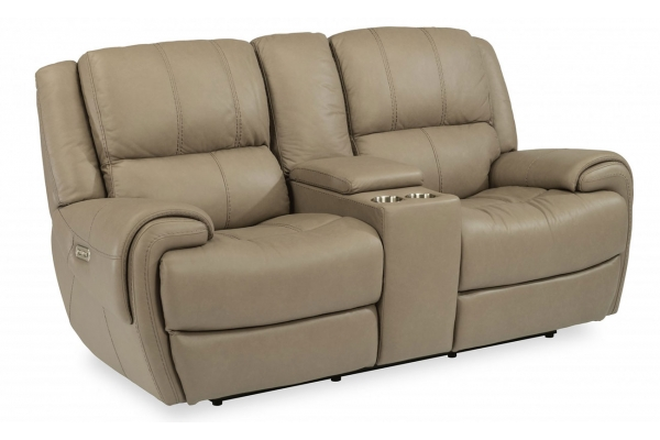 Large image of Flexsteel Nance Leather Power Reclining Loveseat With Console - 1179-64PH-450-82