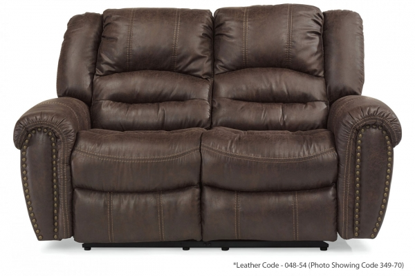 Large image of Flexsteel Town Camel Leather Reclining Loveseat - 1010-60-048-54