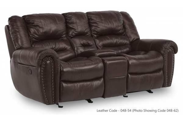 Large image of Flexsteel Town Camel Leather Gliding Reclining Loveseat w/ Console - 1010-604-048-54