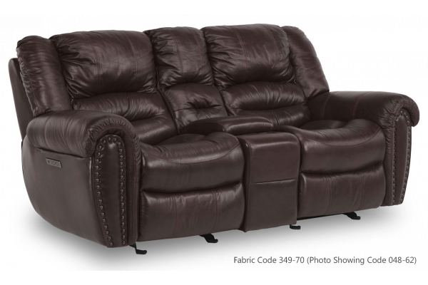 Large image of Flexsteel Town Sable Fabric Power Reclining Loveseat With Console & Power Headrests - 1010-64PH-349-70