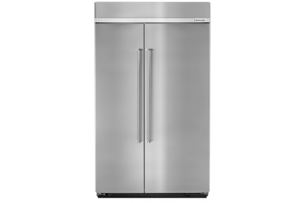 Large image of KitchenAid 30 Cu. Ft. PrintShield Stainless Steel Built-In Side-By-Side Refrigerator - KBSN608ESS