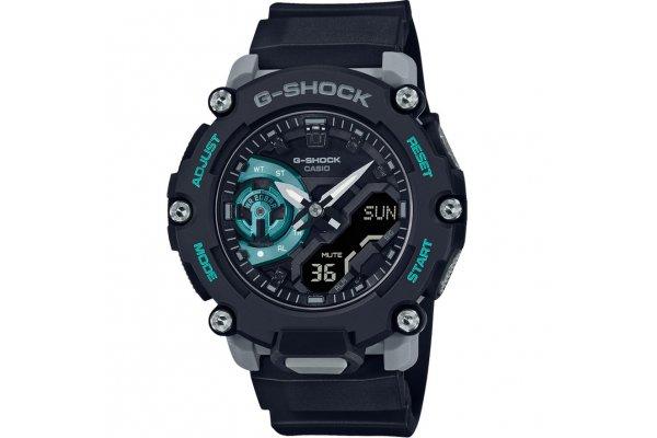 Large image of G-Shock GA2200 Analog-Digital Carbon Core Black & Turquoise Resin Watch, 47.1mm - GA2200M-1A