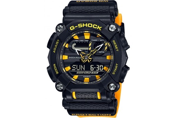 Large image of G-Shock Resin Black And Yellow Mens Analog-Digital Watch - GA900A-1A9