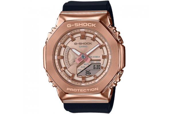Large image of G-ShockAnalog-Digital Rose Gold IP Stainless Steel Watch, Black Resin Band - GMS2100PG-1A4