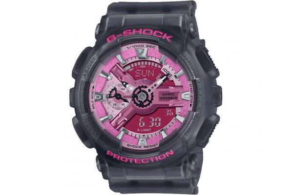 Large image of G-Shock Analog-Digital Dark Gray Semi-Transparent Watch, Pink Dial, 45.9mm - GMAS110NP-8A