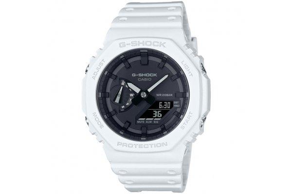 Large image of G-ShockAnalog-Digital White Carbon Core Watch, Black Dial - GA2100-7A