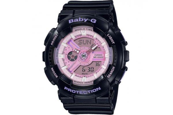 Large image of G-Shock Analog-Digital Baby-G Black Resin Watch, Pink Polarized Dial, 43.4mm - BA110PL-1A