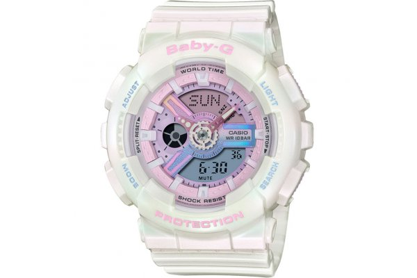 Large image of G-Shock Analog-Digital Baby-G White Resin Watch, Pink Polarized Dial, 43.4mm - BA110PL-7A1