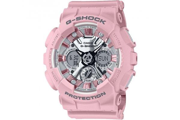 Large image of G-Shock Analog-Digital Pink Resin Watch, Metallic Dial, 45.9mm - GMAS120NP-4A