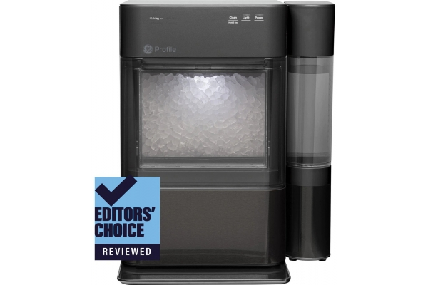 Large image of GE Black Stainless Steel Opal 2.0 Nugget Ice Maker - XPIO13BCBT