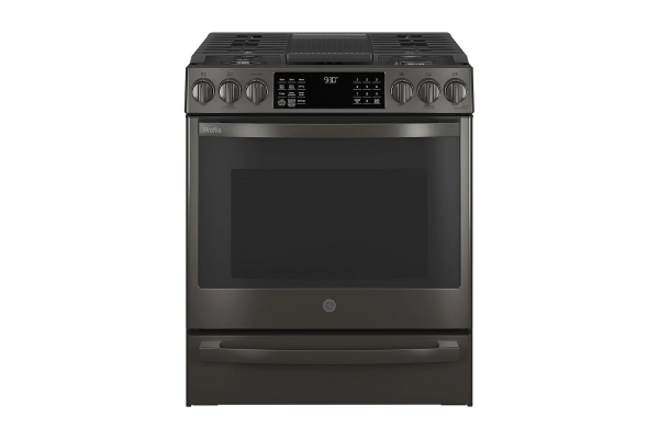 """Large image of GE Profile 30"""" Fingerprint Resistant Black Stainless Steel Smart Slide-In Convection Gas Range With Air Fry - PGS930BPTS"""