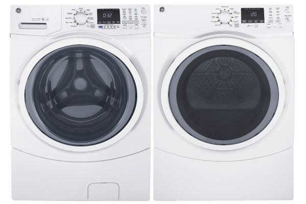 GE White Front Load Steam Washer and Electric Dryer Package - GELAUNDRYPACK12