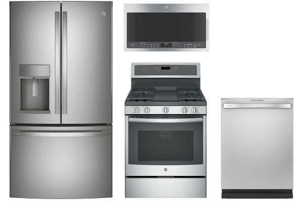 GE Profile Stainless Steel French Door Refrigerator with Gas Range Package - GEPACK27