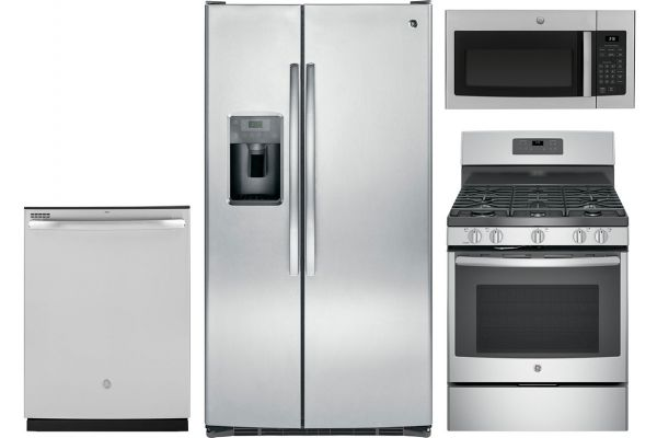 GE Side-by-Side Stainless Refrigerator Appliance Package with Gas Range - GEPACK30