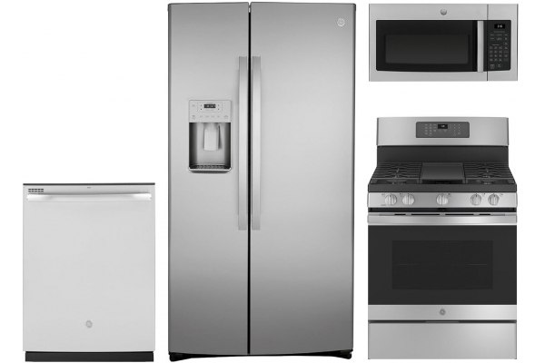 Large image of GE Side-by-Side Stainless Refrigerator Appliance Package & Gas Range - GEPACK30