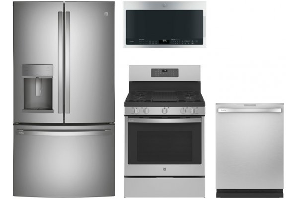Large image of GE Profile ENERGY STAR 22.1 Cu. Ft. French-Door Refrigerator with Gas Range Package - GEPACK34