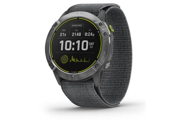 Large image of Garmin Enduro Steel With Gray UltraFit Nylon Strap GPS Smartwatch - 010-02408-00