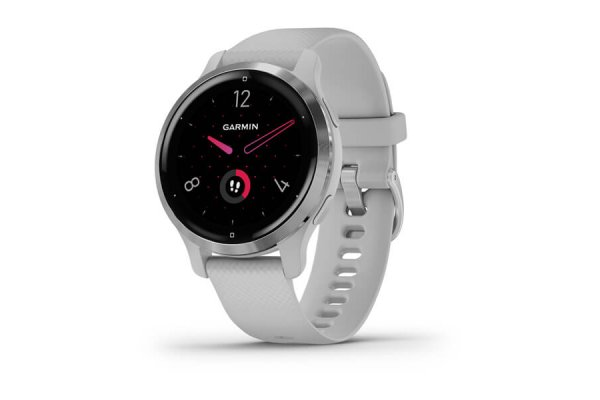 Large image of Garmin Silver Stainless Steel Bezel With Mist Gray Case And Silicone Band Venu 2S Watch - 010-02429-02