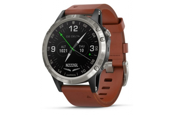 Large image of Garmin Titanium Gray & Brown Leather Band D2 Delta Aviator Watch - 010-01988-30