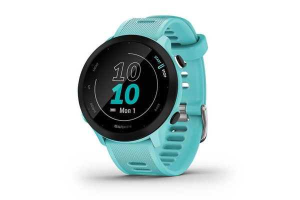Large image of Garmin Black Bezel With Aqua Case And Silicone Band Forerunner 55 Watch - 010-02562-02