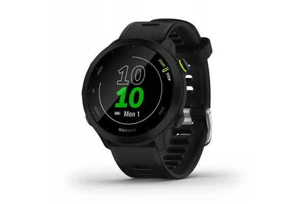 Large image of Garmin Black Bezel With Black Case And Silicone Band Forerunner 55 Watch - 010-02562-00