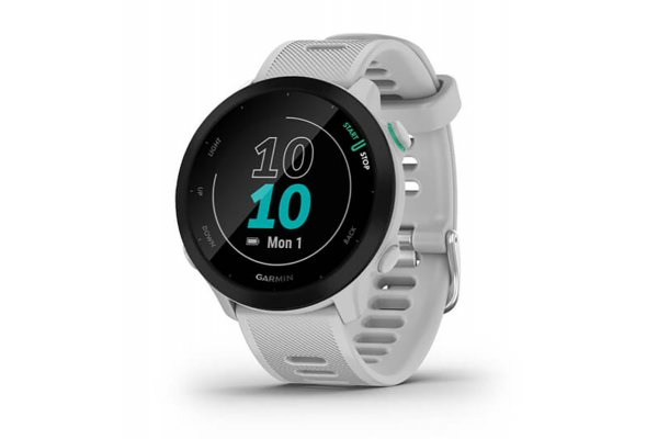 Large image of Garmin Black Bezel With White Case And Silicone Band Forerunner 55 Watch - 010-02562-01