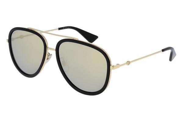 Large image of Gucci Black Aviator Womens Sunglasses - GG0062S-001 57