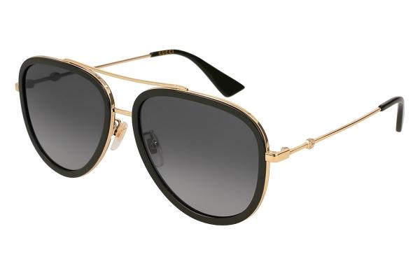 Large image of Gucci Black & Gold Aviator Womens Sunglasses - GG0062S011