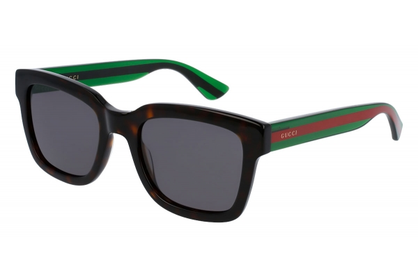 Large image of Gucci Havana Acetate Rectangular Frame Mens Sunglasses - GG0001S-003 52