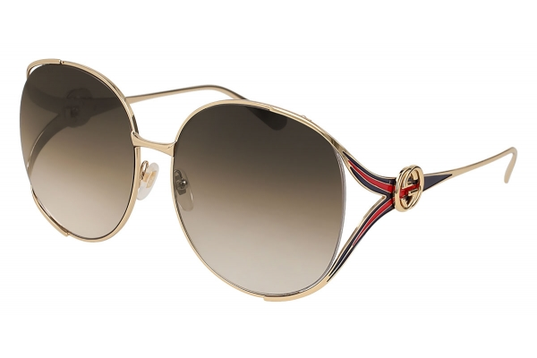 Large image of Gucci Gold Oval Frame Metal Womens Sunglasses - GG0225S-002 63