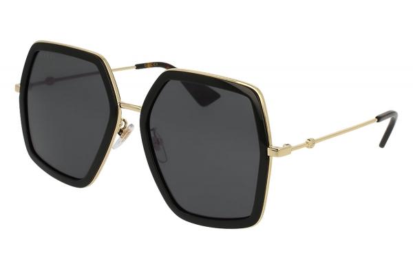 Large image of Gucci Oversized Hexagonal Black Women's Sunglasses - GG0106S001