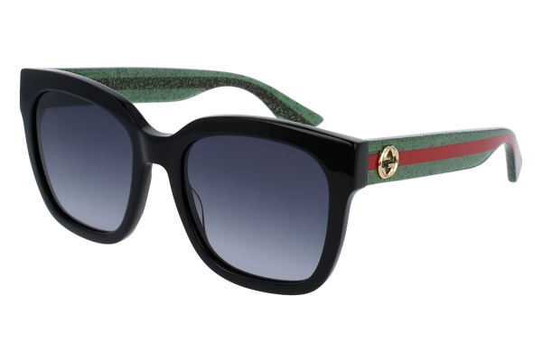 Large image of Gucci Black Rectangular Glitter Acetate Womens Sunglasses - GG0034S-002 54