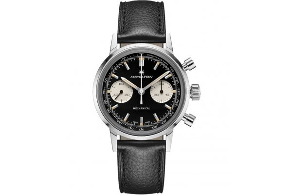 Large image of Hamilton American Classic Intra-Matic Chronograph H Black Dial Watch, 40mm - H38429730