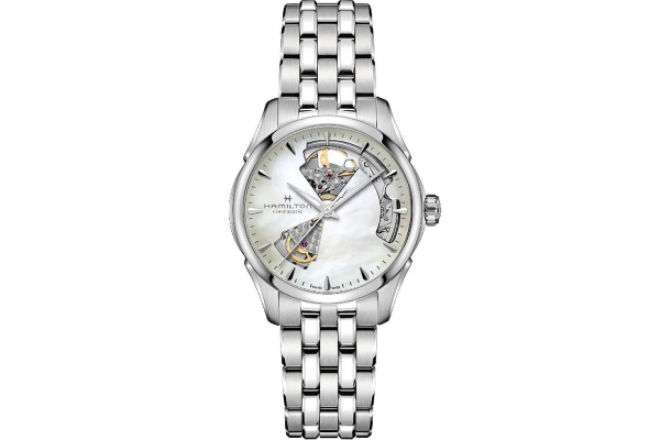 Large image of Hamilton Jazzmaster Open Heart Lady Auto Mother Of Pearl Dial Womens Watch - H32215190