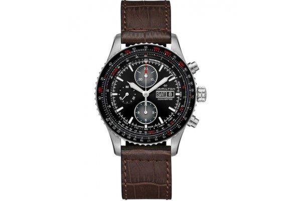 Large image of Hamilton Khaki Aviation Converter Auto Chrono Black Dial Watch, Brown Leather Strap, 44mm - H76726530