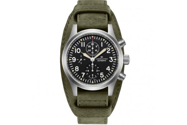 Large image of Hamilton Khaki Field Auto Chrono Green Leather Strap Watch, Black Dial, 44mm - H71706830