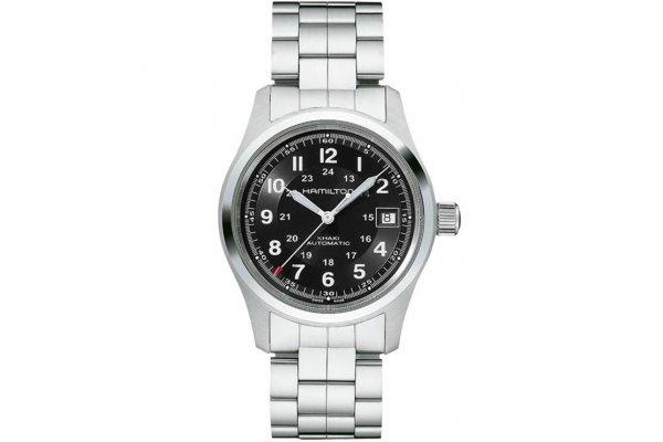 Large image of Hamilton Khaki Field Auto Black Dial Watch, Stainless Steel Bracelet, 38mm - H70455133
