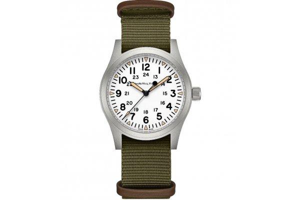 Large image of Hamilton Khaki Field Mechanical White Dial Watch, Nato Green Strap, 42mm - H69529913